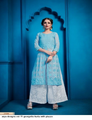 sky blue georgette fabric embroidry  work casual