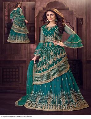 rama blue net fabric embroidery & thread work work casual