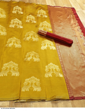 yellow soft lichi silk fabric jacquard work casual