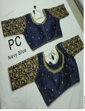 navy blue silk fabric embroidery & stone work work casual