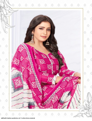pink cotton fabric printed work casual