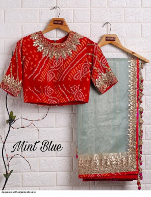 mint blue organza fabric gota zari work + secquance + thread work work casual