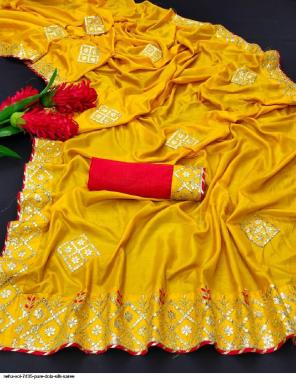 yellow silk fabric heavy gota work & border work casual