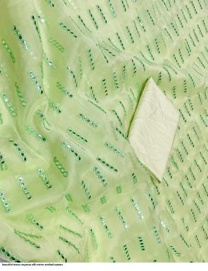 light green organza fabric mirror embroidery work work casual