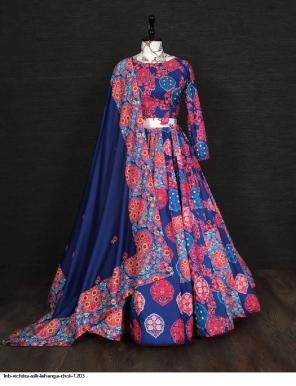 navy blue vichitara silk  with muslin duppata fabric printed work casual