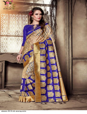 blue & offwhite silk fabric weaving  work wedding