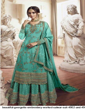 sky blue top:- georgette , palaza :- georgette , dupatta :- georgette  fabric embroidery work casual