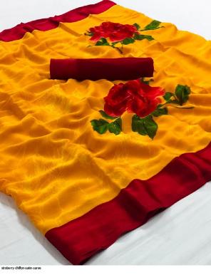 orange chiffon satin fabric printed work casual