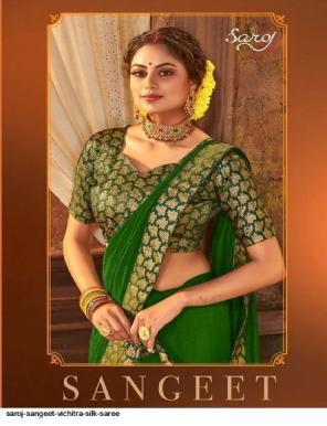 green vichitra silk fabric jacquaed work casual
