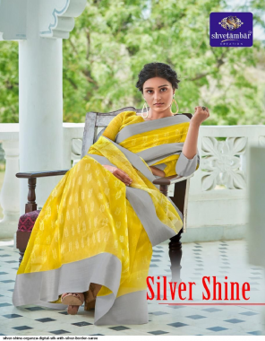 musterd yellow organza digital silk fabric jacquard  with silver boder work casual