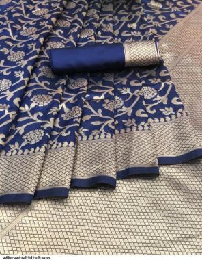 royal blue lichi silk fabric rich pallu & jacquard work golden zari work casual