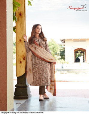 light brown top - cambric cotton | bottom - cotton | duppata - chiffon  fabric printed work casual