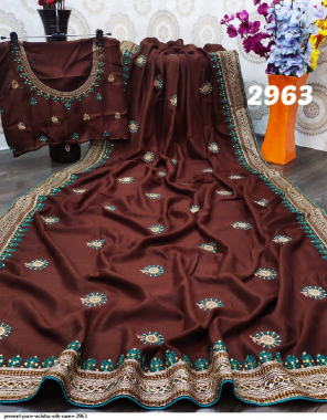 brown pure vichitra silk fabric heavy embroidery work + stone work work casual