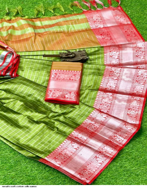 light green cotton silk fabric weaving border with sophisticated pallu work casual