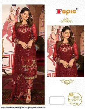 red top - georgette   bottom & inner - santoon   dupatta - net fabric heavy embroidery work running