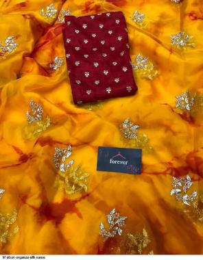 orange organza silk fabric embroidery work running