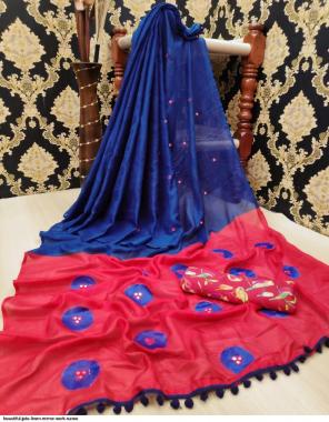 blue jute linen net fabric mirror work & blouse sparrow print work party wear