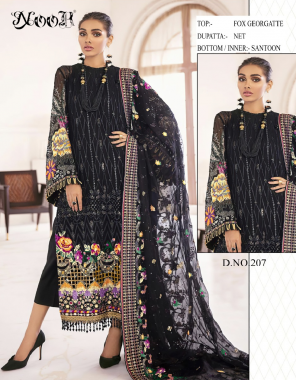 black top - faux georgette | duppata - net | bottom & inner - santoon fabric embroidery work casual