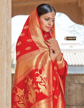 red pure silk fabric weaving work festive