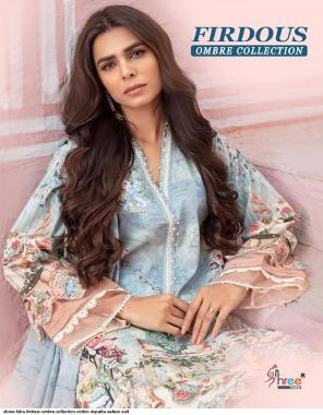 sky blue top - pure cotton | bottom - semi lawn | dupatta - cotton mul mul fabric printed work festive
