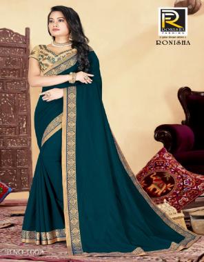royal blue vichitra silk fabric border & plain work casual