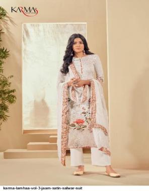 white top - jaam satin | bottom - pure chiffon | dupatta - cotton fabric embroidery & digital printed work casual