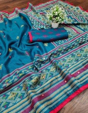 rama blue jute cotton silk fabric printed with mirror work work casual