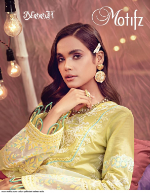 yellow top - pure cotton | bottom  inner - semi lawn | dupatta - nazneen chiffon fabric self embroidey work casual