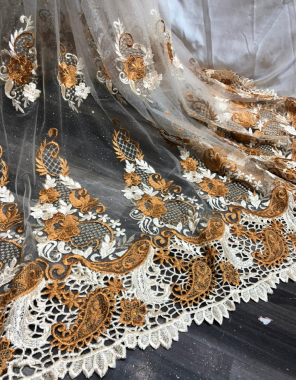 yellow net fabric cutwork border with embroidery work casual