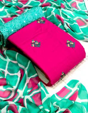 dark pink top - heavy cotton   bottom - cotton mill   dupatta - chiffon fabric embroidery & printed work casual