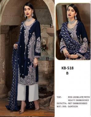 navy blue top - fox georgette   botton & inner - santoon   dupatta - net fabric embroidery work casual