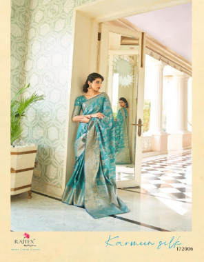 sky blue soft handloom silk fabric weaving work wedding