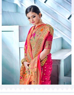 dark pink pure silk pathani fabric weaving work casual