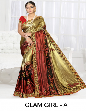 red & golden brasso + improted lycra fabric heavy diamond  work ethic