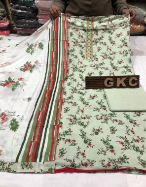 light green top - pure cotton | bottom - pure cotton | dupatta - cotton fabric printed work casual