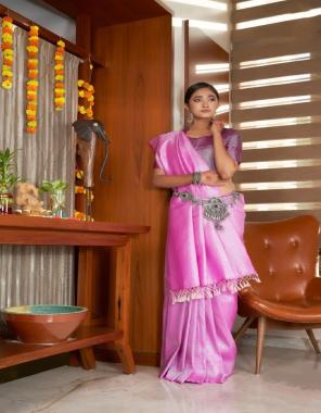 baby pink soft lichi silk  fabric silver jari + heavy jaquard border work party wear