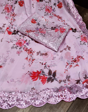 baby pink saree - heavy georgette | blouse satin banglori silk fabric digital print & sequance work party wear