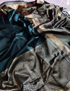 dark rama green soft lichi silk fabric golden jari heavy jaquard border work casual