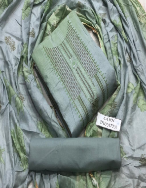 rama blue top - soft lawn | bottom -  lawb cotton | dupatta - lawn printed fabric embroidery work casual