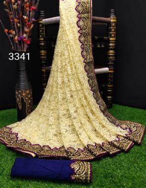 royal blue saree- rasal brasso | blouse - banglory silk fabric embroidery work + stone work+ fancy cut work border work casual