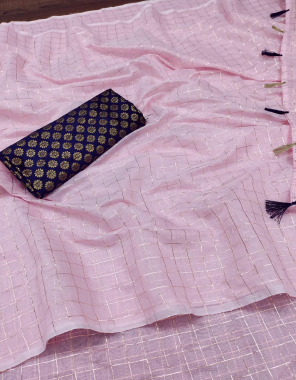 baby pink chanderi polyester cotton fabric jari chex work casual