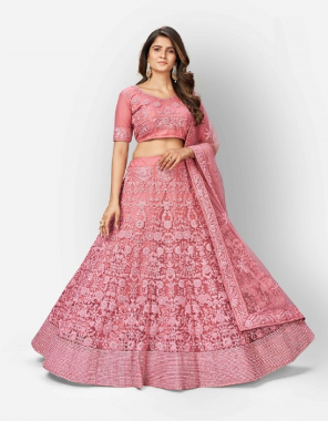 baby pink blouse & lehenga - soft net + cotton inner | dupatta - soft net fabric dori + zarkan work casual