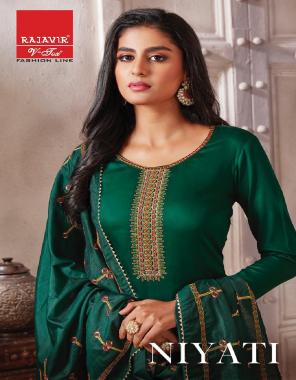dark green top - pure zam satin   bottom - pure cotton   dupatta - chanderi silk  fabric embroidery  work ethic