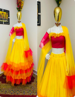 yellow & red lehenga - georgette soft net ruffle with can can inner micro length 42 inch semi stitch xxl fair 3m   blouse - soft net micro silk with inner 1m unstitch   dupatta - soft net with ruffle 40 inch height 2.25 m  fabric plain work wedding