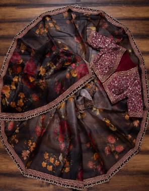 black brown saree - heavy organza   blouse - satin banglori fabric beautiful digital floral print work festive