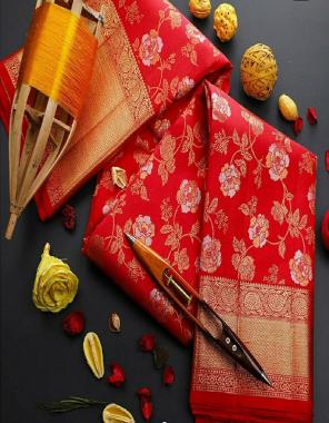 red soft lichi silk fabric golden & silver jari + trendy grend rich pallu work wedding
