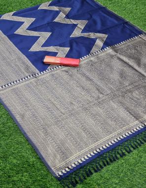 royal blue kanchipuram kota silk fabric beautiful rich pallu + jacquard work on all saree work ethnic