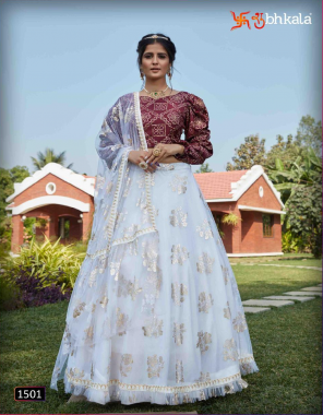 white & maroon lehenga - net | choli - cotton silk + taffeta silk + georgette fabric metalic foil + printed work casual
