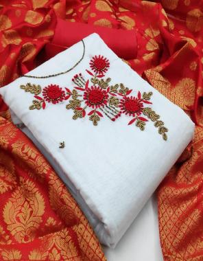 white & red top 1.90m - heavy modal chanderi | bottom  2m - santoon |inner 1.80 m - santton | dupatta - heavy jacquard fabric hand work work casual