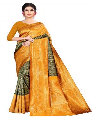 yellow & green soft lichi silk fabric heavy jacquard work wedding